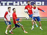 Spain's Hector Bellerin, Sergio Busquets, Gerard Pique and Bruno Soriano during training session previous friendly match. May 31,2016.(ALTERPHOTOS/Acero)