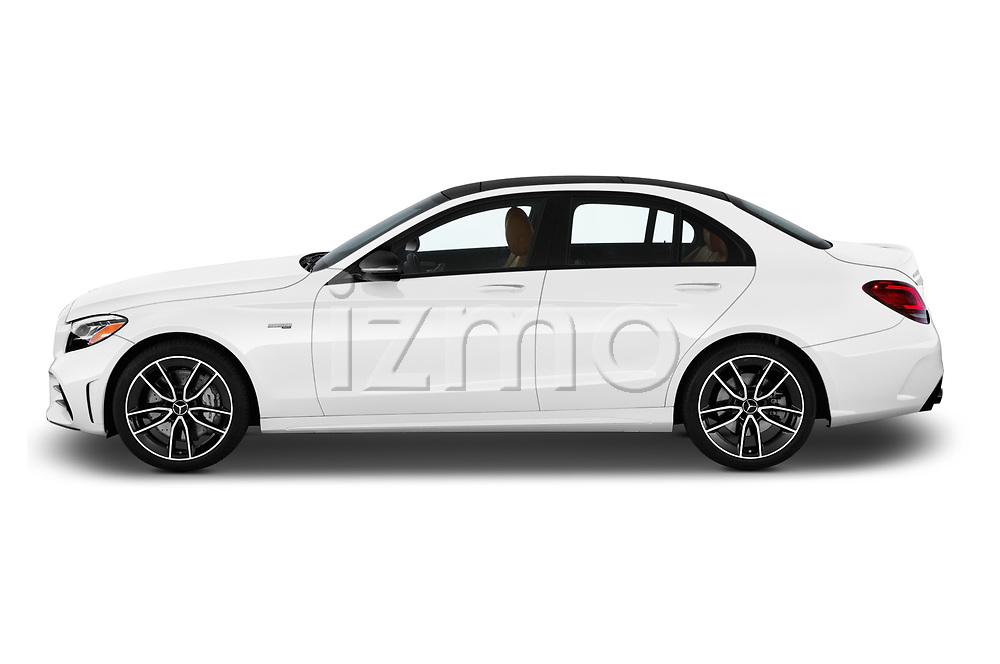 Car driver side profile view of a 2019 Mercedes Benz C-CLass 43-AMG 4 Door Sedan