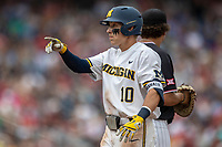 Michigan Wolverines third baseman Blake Nelson (10) during Game 1 of the NCAA College World Series against the Texas Tech Red Raiders on June 15, 2019 at TD Ameritrade Park in Omaha, Nebraska. Michigan defeated Texas Tech 5-3. (Andrew Woolley/Four Seam Images)