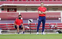 KASHIMA, JAPAN - JULY 27: USA head coach Vlatko Andonovski looking on during a game between Australia and USWNT at Ibaraki Kashima Stadium on July 27, 2021 in Kashima, Japan.