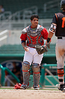 GCL Red Sox catcher Carlos Pulido (23) during a game against the GCL Orioles on August 9, 2018 at JetBlue Park in Fort Myers, Florida.  GCL Red Sox defeated GCL Orioles 10-4.  (Mike Janes/Four Seam Images)