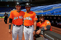 Miami Marlins Walner Espinal (90), Cesar Diaz (21) and Isael Soto (15) pose for a photo before a Florida Instructional League game against the Washington Nationals on September 26, 2018 at the Marlins Park in Miami, Florida.  (Mike Janes/Four Seam Images)