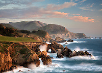 Arches and waves on Big Sur coast, California