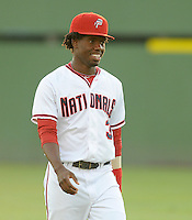 Outfielder Eury Perez (3) of the Potomac Nationals, Carolina League affiliate of the Washington Nationals, prior to a game against the Salem Red Sox on June 16, 2011, at Pfitzner Stadium in Woodbridge, Va. Photo by Tom Priddy / Four Seam Images