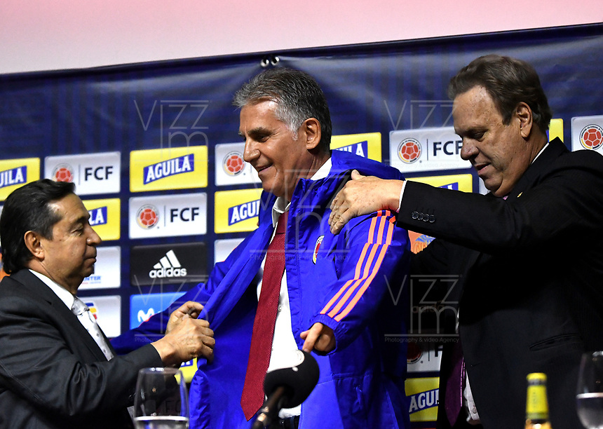 BOGOTÁ-COLOMBIA, 07-02-2019: Álvaro González, Vicepresidente de la Federación Colombiana de Fútbol, Carlos Querioz, Técnico Selección Colombia de Fútbol, Ramón Jesurúm, Presidente Federación Colombiana de Fútbol durante rueda de prensa y presentación del nuevo técnico, en la Sede Deportiva de la Federación Colombiana de Fútbol en Bogotá. / Alvaro Gonzalez, Vice President of the Colombian Football Federation, Carlos Querioz, Colombia Soccer Selection Technician, Ramon Jesurum President of the Colombian Football Federation, during a press conference and presentation of the new coach, at the Sports Venue of the Colombian Football Federation in Bogotá. / Photo: VizzorImage / Luis Ramírez / Staff.