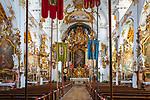 Deutschland, Bayern, Toelzer Land, Dietramszell: Innenaufnahme der ehemaligen Stiftskirche und heutigen Pfarrkirche | Germany, Bavaria, Toelzer Land, Dietramszell: parish church - interior