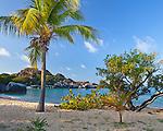 Virgin Gorda, British Virgin Islands, Caribbean <br /> Morning on the beach at Spring Bay, Spring Bay National Park