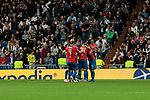 FC Viktoria Plzen's players celebrate goal during UEFA Champions League match between Real Madrid and FC Viktoria Plzen at Santiago Bernabeu Stadium in Madrid, Spain. October 23, 2018. (ALTERPHOTOS/A. Perez Meca)