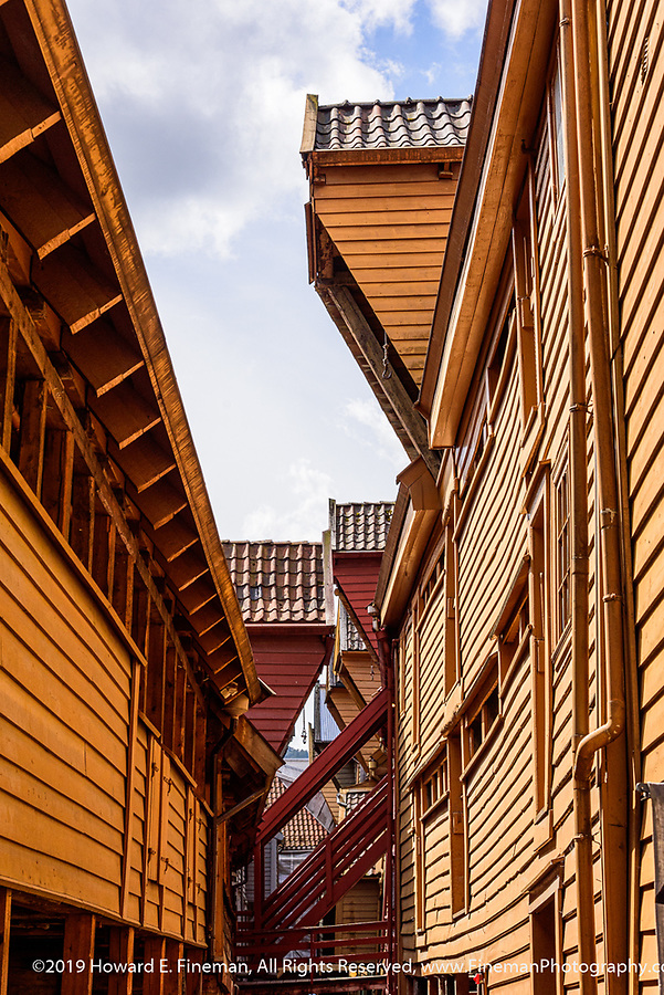 Restored Bryggen wharf houses in Bergern harbor