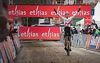 Wout van Aert (BEL/Jumbo-Visma) winning the 20/21 UCI World Cup<br /> <br /> 2021 UCI CX World Cup Overijse (BEL)<br /> Vlaamse Druivencross<br /> <br /> Men's Race<br /> <br /> ©kramon