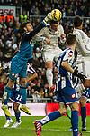 Real Madrid´s Gareth Bale and Deportivo de la Coruna's Fabricio Agosto during 2014-15 La Liga match between Real Madrid and Deportivo de la Coruna at Santiago Bernabeu stadium in Madrid, Spain. February 14, 2015. (ALTERPHOTOS/Luis Fernandez)