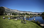 Breast cancer survivors participate in a Casting for Recovery fly-fishing retreat in Gardnerville, Nev., on Friday, June 30, 2017. The nationwide program, hosted locally with Carson Tahoe Cancer Center, pairs cancer survivors with fly-fishing guides.   <br />