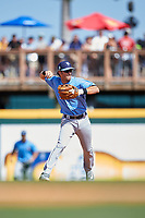 Tampa Bay Rays second baseman Nick Franklin (2) throws to first base during a Spring Training game against the Pittsburgh Pirates on March 10, 2017 at LECOM Park in Bradenton, Florida.  Pittsburgh defeated New York 4-1.  (Mike Janes/Four Seam Images)