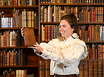 Pictured: Clio O'Sullivan holding up the poem book written by William Cowper, Jane Austins favourite poet.<br /> <br /> Chawton house has recently received a set of rare 1st edition William Cowper Poem books, which Jane Austin most likely read extensively during her time staying at the house. This was to thanks to 'Friends of the National Libraries' and the 'Godmersham Lost Sheep Society'. <br /> <br /> These exact books once belonged to Jane Austins brother, Edward Austen Knight, who inherited the estate. These books contain a bookplate belonging to Jane Austin's great nephew George Montagu Knight, as well as a shelf mark signifying where the books sat in the family library.<br /> <br /> © Ewan Galvin/Solent News & Photo Agency<br /> UK +44 (0) 2380 458800