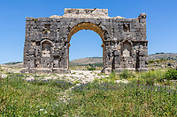 Volubilis, Morocco.  Arch of Caracalla, built 217AD, reconstructed 1930-34.
