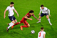 15th November 2020; Leuven, Belgium;   Axel Witsel midfielder of Belgium battles for the ball with Declan Rice midfielder of England, Kieran Trippier defender of England and Mason Mount midfielder of England during the UEFA Nations League match group stage final tournament - League A - Group 2 between Belgium and England