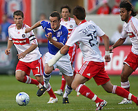 Everton FC midfielder Jose Baxter (11) works hard to win a ball.  The Chicago Fire defeated English Premier League Team Everton FC 2-0 in a friendly match at Toyota Park in Bridgeview, IL, on July 30, 2008.