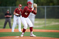Boston College Eagles starting pitcher Jacob Stevens (44) looks in for the sign during a game against the Minnesota Golden Gophers on February 23, 2018 at North Charlotte Regional Park in Port Charlotte, Florida.  Minnesota defeated Boston College 14-1.  (Mike Janes/Four Seam Images)