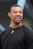 Pittsburgh Pirates first baseman Derrek Lee #25 before a game against the Los Angeles Dodgers at Dodger Stadium on September 16, 2011 in Los Angeles,California. Los Angeles defeated Pittsburgh 7-2.(Larry Goren/Four Seam Images)