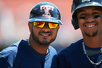 Toledo Mudhens Jordany Valdespin (left) and Dixon Machado (right) before a game against the Buffalo Bisons on May 18, 2016 at Coca-Cola Field in Buffalo, New York.  Buffalo defeated Toledo 7-5.  (Mike Janes/Four Seam Images)