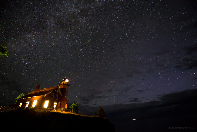 Eagle Harbor Lighthouse, lights on and meteor,We'll leave the light on for you
