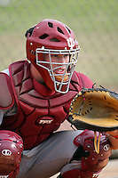 February 22, 2009:  Catcher Josh Lyon (21) of Indiana University during the Big East-Big Ten Challenge at Naimoli Complex in St. Petersburg, FL.  Photo by:  Mike Janes/Four Seam Images