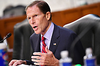 United States Senator Richard Blumenthal (Democrat of Connecticut), speaks during a US Senate Judiciary Committee business meeting  in the Hart Senate Office Building on Capitol Hill in Washington, DC on October 15, 2020.<br /> Credit: Mandel Ngan / Pool via CNP /MediaPunch