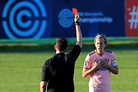 Leonard Little is sent off for Sheffield United for a second bookable offence during Charlton Athletic Women vs Sheffield United Women, FA Women's Championship Football at The Oakwood on 22nd November 2020