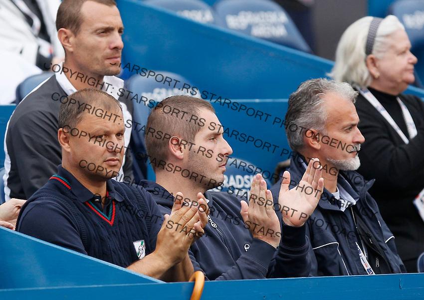 Tenis, Serbia Open 2011.Final.Novak Djokovic (SRB) Vs. Feliciano Lopez (ESP).from left, Marian Vajda, Miljan Amanovic and Dr. Igor Cetojevic.Beograd, 01.05.2011..foto: Srdjan Stevanovic