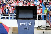 BARRANQUILLA - COLOMBIA, 18-09-2021: Var.Atlético Junior  y Atlético Nacional en partido por la fecha 10 como parte de la Liga BetPlay DIMAYOR II 2021 jugado en el estadio Metropolitano Roberto Meléndez de la ciudad de Barranquilla. / Atletico Junior and Atletico Nacional in match for the date 10 as part of the BetPlay DIMAYOR League II 2021 played at Metropolitano Roberto Melendez stadium in Barranquilla city. Photo: VizzorImage / Jairo Cassiani / Contribuidor