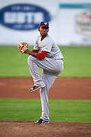 Auburn Doubledays pitcher Jefry Rodriguez (29) delivers a pitch during a game against the Batavia Muckdogs on July 10, 2015 at Dwyer Stadium in Batavia, New York.  Auburn defeated Batavia 13-1.  (Mike Janes/Four Seam Images)