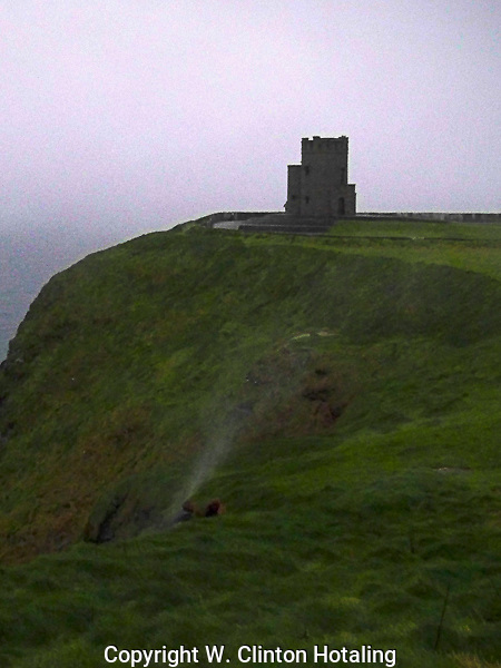 A waterrise formed by the high winds at the Cliffs of Moher in Ireland.