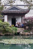 Suzhou, Jiangsu, China.  Pavilion Overlooking Garden Pond, House of the Master of the Nets.