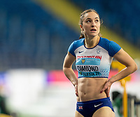 2nd May 2021; Silesian Stadium, Chorzow, Poland; World Athletics Relays 2021. Day 2; Emily Diamond of Great Britain watches the big screen to see how team mate Jessie Knight is doing in the 4 x 400 final