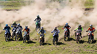 A section of the start grid as the NGR race gets underway during the Richard Fitch Memorial Trophy Motocross at Wakes Colne MX Circuit on 18th July 2021