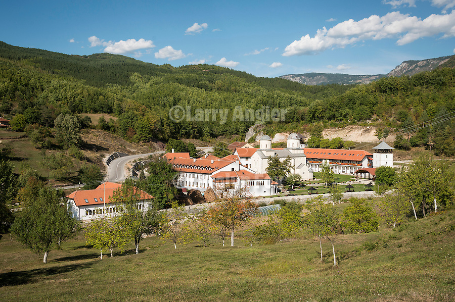 Landscape and church at the Monastery Mileševa, Serbia originally built in the 13th century.