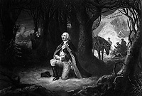 The Prayer at Valley Forge.  Gen. George Washington, winter 1777-78.  Copy of engraving by John C. McRae after Henry Brueckner, published 1866.  (George Washington Bicentennial Commission)<br /> Exact Date Shot Unknown<br /> NARA FILE #:  148-GW-201<br /> WAR & CONFLICT #:  34