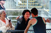 Dame Susan Devoy congratulates Julian Oakley on winning the elite men's 1500m. 2021 Capital Classic athletics at Newtown Park in Wellington, New Zealand on Saturday, 20 February 2021. Photo: Dave Lintott / lintottphoto.co.nz