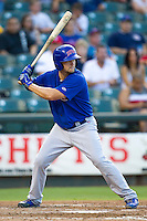 Iowa Cubs outfielder Ty Wright (2) at bat against the Round Rock Express in the Pacific Coast League baseball game on July 21, 2013 at the Dell Diamond in Round Rock, Texas. Round Rock defeated Iowa 3-0. (Andrew Woolley/Four Seam Images)
