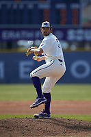 High Point Panthers pitcher Nick Hernandez (37) in action against the Bryant Bulldogs at Williard Stadium on February 21, 2021 in  Winston-Salem, North Carolina. The Panthers defeated the Bulldogs 3-2. (Brian Westerholt/Four Seam Images)