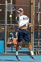 SAN ANTONIO, TX - OCTOBER 14, 2016: The University of Texas at San Antonio Roadrunners Men's Tennis Team competes in the UTSA Cup at the UTSA Tennis Center. (Photo by Jeff Huehn)