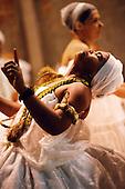 Recife, Pernambuco State, Brazil. Candomble ceremony; woman deep in a trance.