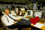 Peter Sissons, British Television News presenters, BBC News at 6.00 studio. Getting ready to go on air. 1990s UK