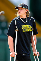 21 April 2007: The University of Vermont Catamounts' Joe Serafin, a Junior from Tariffville, CT, watches his teammates as they play against the University of Hartford Hawks at Historic Centennial Field in Burlington, Vermont. Serafin is currently recovering from a leg injury which leaves him unable to compete this season...Mandatory Photo Credit: Ed Wolfstein Photo