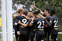 Team Wellington celebrates a goal during the ISPS Handa Men's Premiership - Team Wellington v Canterbury Utd at David Farrington Park, Wellington on Saturday 19 December 2020.<br /> Copyright photo: Masanori Udagawa /  www.photosport.nz
