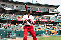 Fresno Grizzlies shortstop Carter Kieboom (8) on deck during a game against the Reno Aces at Chukchansi Park on April 8, 2019 in Fresno, California. Fresno defeated Reno 7-6. (Zachary Lucy/Four Seam Images)
