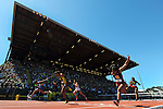 13 JUNE 2015: Kendra Harrison of Kentucky crosses the finish line to win the Women's 100 meter Hurdles during the Division I Men's and Women's Outdoor Track & Field Championship held at Hayward Field in Eugene, OR. Harrison won the event with a time of 12.55. Steve Dykes/ NCAA Photos