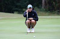 CHAPEL HILL, NC - OCTOBER 13: Ava Bergner of the University of North Carolina lines up a putt at UNC Finley Golf Course on October 13, 2019 in Chapel Hill, North Carolina.