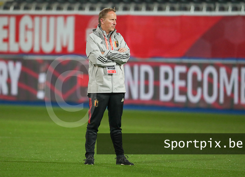Assistant coach of Belgium pictured during the warm up before a soccer game between the national teams Under21 Youth teams of Belgium and Kazakhstan on the third matday in group I for the qualification for the Under 21 EURO 2023 , on friday 8 th of october 2021  in Leuven , Belgium . PHOTO SPORTPIX | SEVIL OKTEM