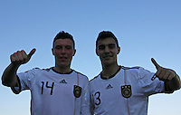 Scores of two goals Nils Quaschner (R) and Kaan Ayhan of Germany celebrate the victory after the UEFA U-17 championships Semi Final match between Denmark and Germany on May 12, 2011 in Novi Sad, Serbia. (Photo by Srdjan Stevanovic/Starsportphoto.com)